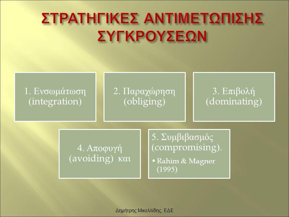 1. Ενσωμάτωση (integration) 2. Παραχώρηση (obliging) 3. Επιβολή (dominating) 4. Αποφυγή (avoiding) και 5. Συμβιβασμός (compromising). Rahim & Magner (