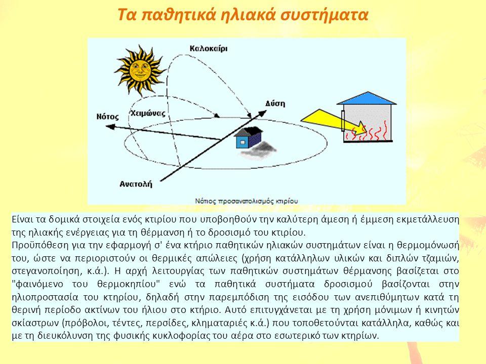 Τα παθητικά ηλιακά συστήματα Είναι τα δομικά στοιχεία ενός κτιρίου που υποβοηθούν την καλύτερη άμεση ή έμμεση εκμετάλλευση της ηλιακής ενέργειας για τ