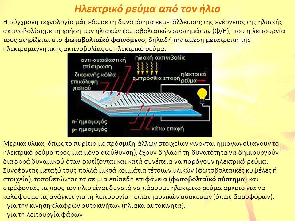 Ηλεκτρικό ρεύμα από τον ήλιο Η σύγχρονη τεχνολογία μάς έδωσε τη δυνατότητα εκμετάλλευσης της ενέργειας της ηλιακής ακτινοβολίας με τη χρήση των ηλιακώ