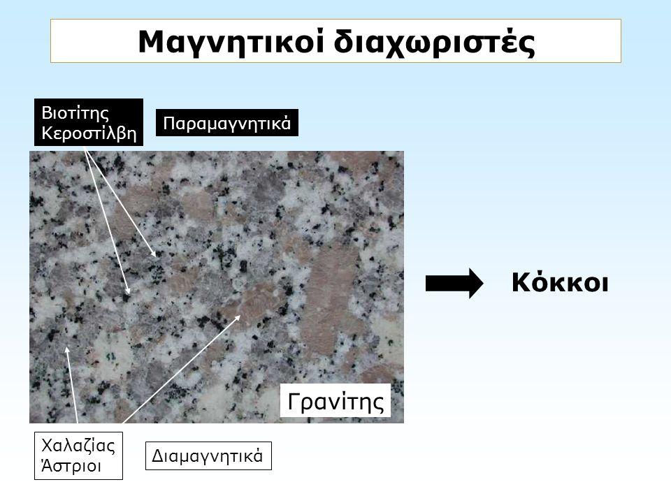 Μαγνητικοί διαχωριστές Γρανίτης Βιοτίτης Κεροστίλβη Χαλαζίας Άστριοι Παραμαγνητικά Διαμαγνητικά Κόκκοι
