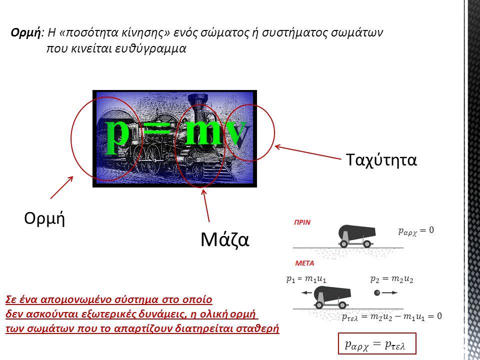 Ορμή: Η «ποσότητα κίνησης» ενός σώματος ή συστήματος σωμάτων που κινείται ευθύγραμμα Ορμή Μάζα Ταχύτητα Σε ένα απομονωμένο σύστημα στο οποίο δεν ασκού