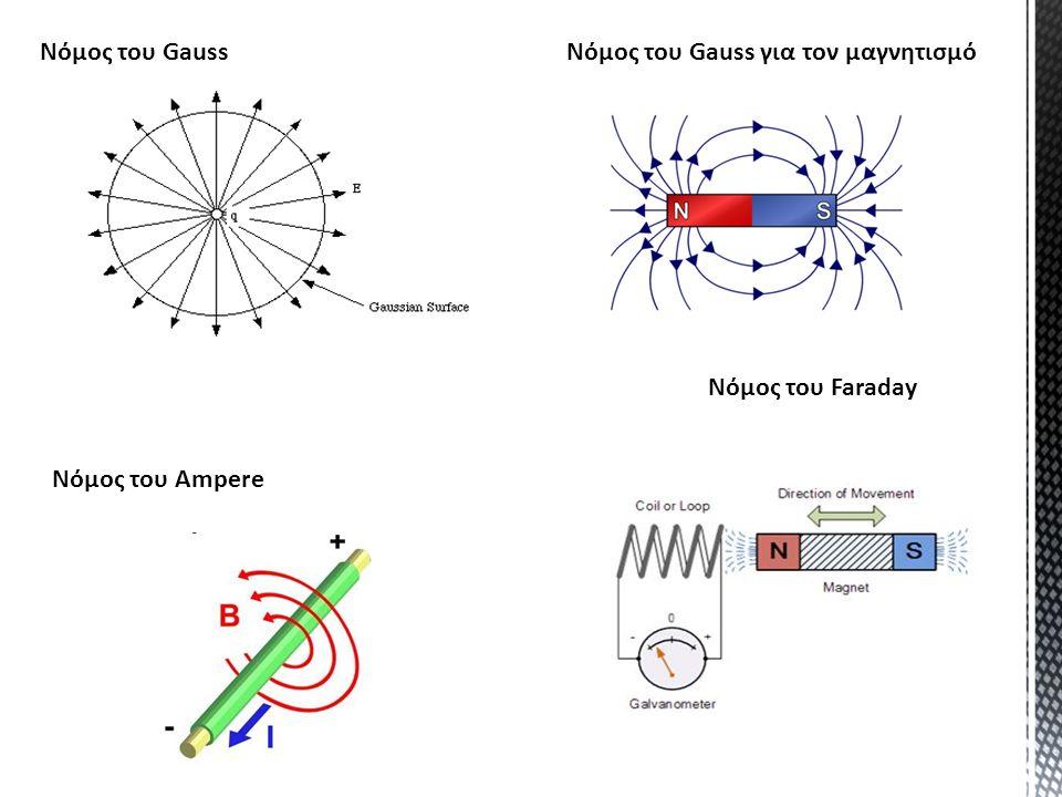 Νόμος του Gauss Νόμος του Faraday Νόμος του Ampere Νόμος του Gauss για τον μαγνητισμό
