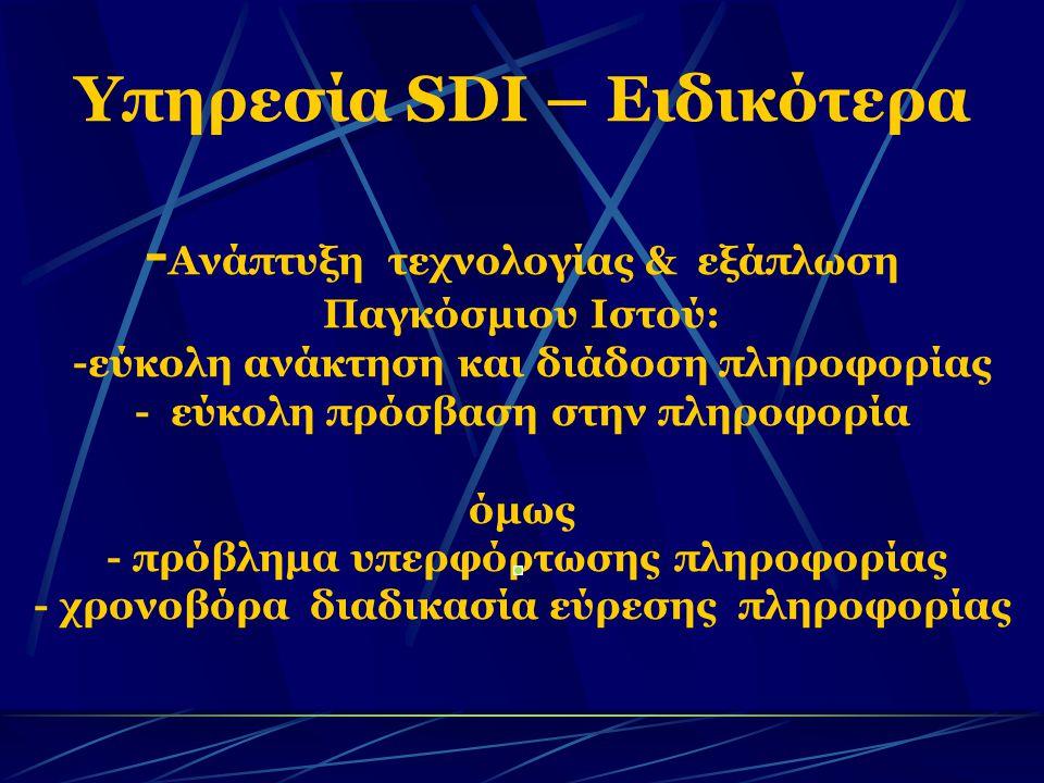 Υπηρεσία SDI – Ειδικότερα - Ανάπτυξη τεχνολογίας & εξάπλωση Παγκόσμιου Ιστού: -εύκολη ανάκτηση και διάδοση πληροφορίας - εύκολη πρόσβαση στην πληροφορία όμως - πρόβλημα υπερφόρτωσης πληροφορίας - χρονοβόρα διαδικασία εύρεσης πληροφορίας