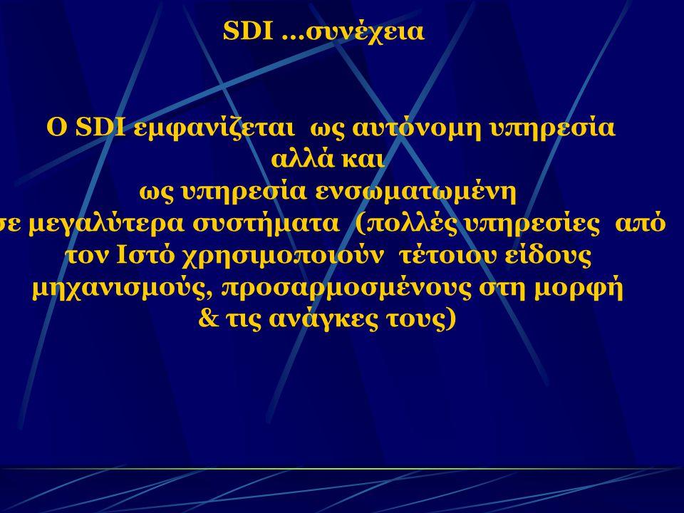 SDI …συνέχεια Ο SDI εμφανίζεται ως αυτόνομη υπηρεσία αλλά και ως υπηρεσία ενσωματωμένη σε μεγαλύτερα συστήματα (πολλές υπηρεσίες από τον Ιστό χρησιμοποιούν τέτοιου είδους μηχανισμούς, προσαρμοσμένους στη μορφή & τις ανάγκες τους)