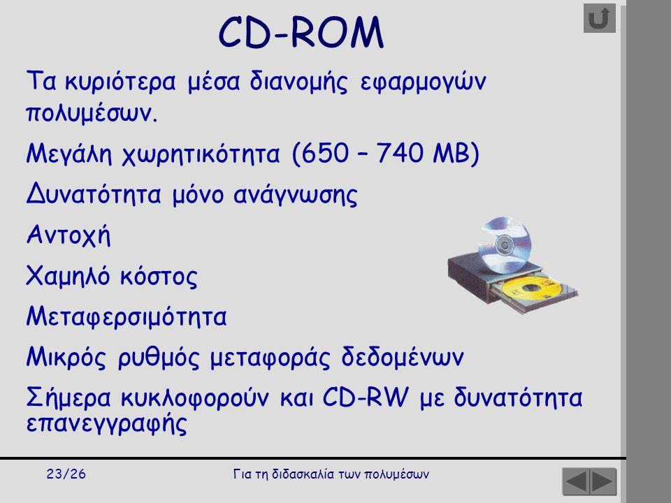 Για τη διδασκαλία των πολυμέσων23/26 CD-ROM Τα κυριότερα μέσα διανομής εφαρμογών πολυμέσων.