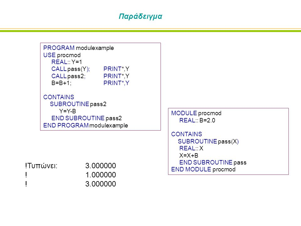 Παράδειγμα PROGRAM modulexample USE procmod REAL:: Y=1 CALL pass(Y); PRINT*,Y CALL pass2; PRINT*,Y B=B+1;PRINT*,Y CONTAINS SUBROUTINE pass2 Y=Y-B END SUBROUTINE pass2 END PROGRAM modulexample MODULE procmod REAL:: B=2.0 CONTAINS SUBROUTINE pass(X) REAL:: X X=X+B END SUBROUTINE pass END MODULE procmod !Τυπώνει: 3.000000 !1.000000 !3.000000