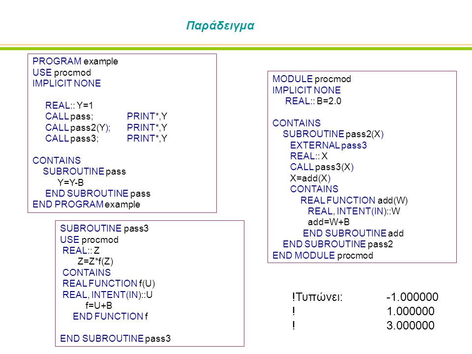 Παράδειγμα PROGRAM example USE procmod IMPLICIT NONE REAL:: Y=1 CALL pass; PRINT*,Y CALL pass2(Y); PRINT*,Y CALL pass3; PRINT*,Y CONTAINS SUBROUTINE pass Y=Y-B END SUBROUTINE pass END PROGRAM example MODULE procmod IMPLICIT NONE REAL:: B=2.0 CONTAINS SUBROUTINE pass2(X) EXTERNAL pass3 REAL:: X CALL pass3(X) X=add(X) CONTAINS REAL FUNCTION add(W) REAL, INTENT(IN)::W add=W+B END SUBROUTINE add END SUBROUTINE pass2 END MODULE procmod SUBROUTINE pass3 USE procmod REAL:: Z Z=Z*f(Z) CONTAINS REAL FUNCTION f(U) REAL, INTENT(IN)::U f=U+B END FUNCTION f END SUBROUTINE pass3 !Τυπώνει: -1.000000 !1.000000 !3.000000