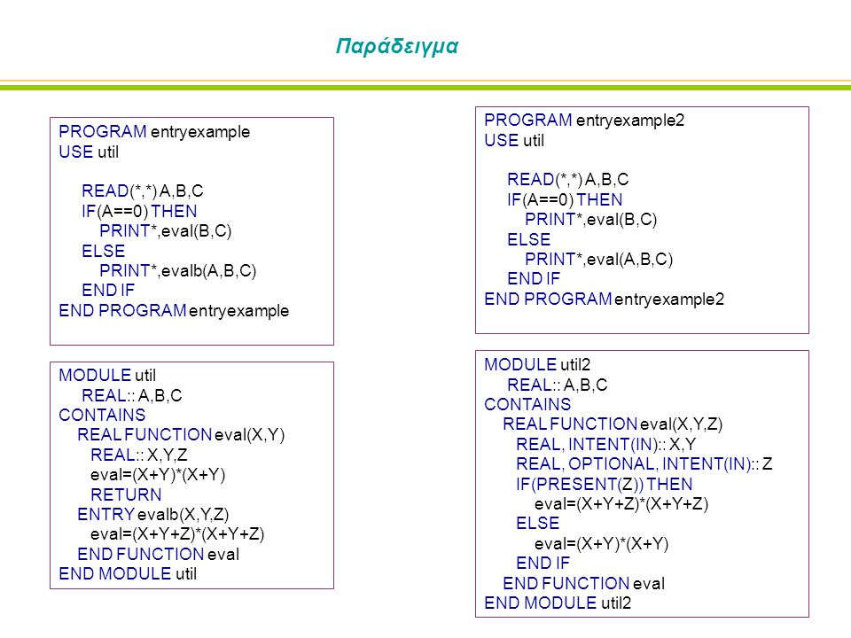 Παράδειγμα PROGRAM entryexample USE util READ(*,*) A,B,C IF(A==0) THEN PRINT*,eval(B,C) ELSE PRINT*,evalb(A,B,C) END IF END PROGRAM entryexample MODUL