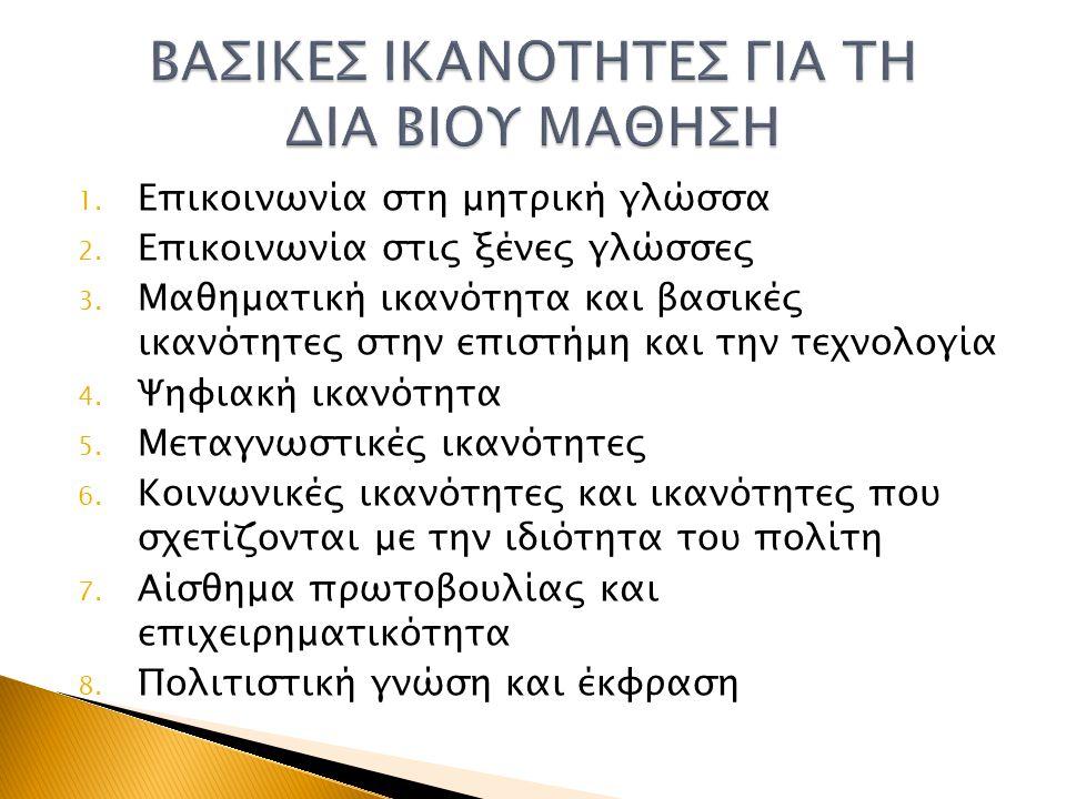 1. Επικοινωνία στη μητρική γλώσσα 2. Επικοινωνία στις ξένες γλώσσες 3. Μαθηματική ικανότητα και βασικές ικανότητες στην επιστήμη και την τεχνολογία 4.