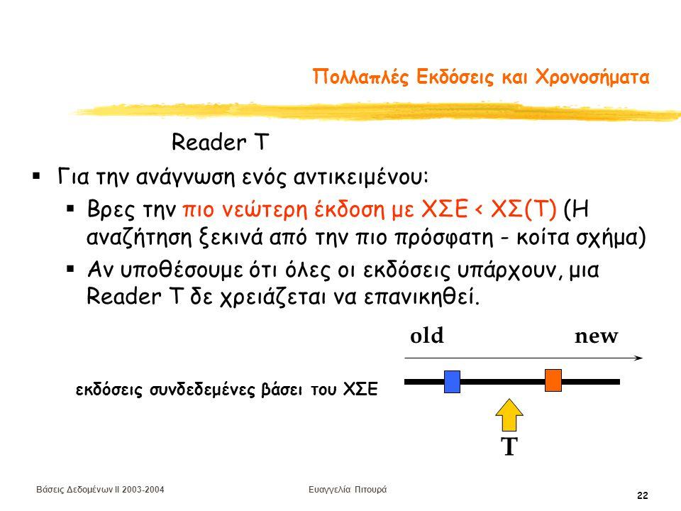 Βάσεις Δεδομένων II 2003-2004 Ευαγγελία Πιτουρά 22 Πολλαπλές Εκδόσεις και Χρονοσήματα  Για την ανάγνωση ενός αντικειμένου:  Βρες την πιο νεώτερη έκδοση με ΧΣΕ < ΧΣ(Τ) (Η αναζήτηση ξεκινά από την πιο πρόσφατη - κοίτα σχήμα)  Αν υποθέσουμε ότι όλες οι εκδόσεις υπάρχουν, μια Reader Τ δε χρειάζεται να επανικηθεί.