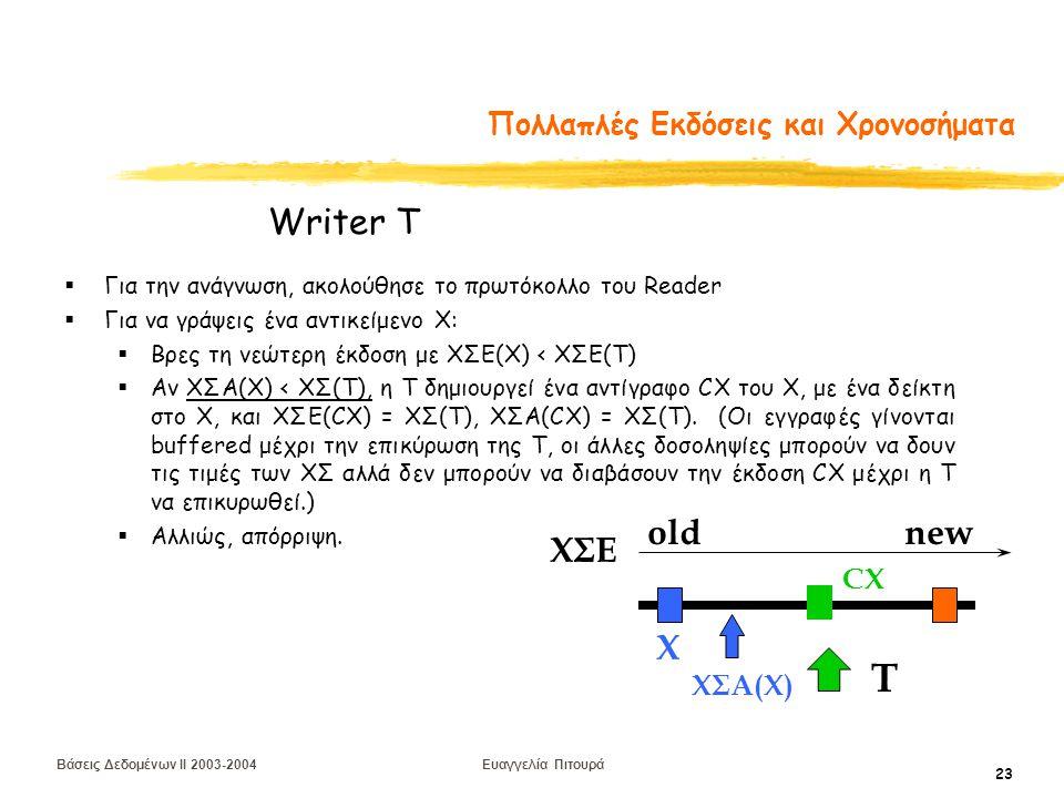 Βάσεις Δεδομένων II 2003-2004 Ευαγγελία Πιτουρά 23 Πολλαπλές Εκδόσεις και Χρονοσήματα  Για την ανάγνωση, ακολούθησε το πρωτόκολλο του Reader  Για να γράψεις ένα αντικείμενο Χ:  Βρες τη νεώτερη έκδοση με ΧΣΕ(Χ) < ΧΣΕ(Τ)  Αν ΧΣΑ(Χ) < ΧΣ(Τ), η T δημιουργεί ένα αντίγραφο CΧ του Χ, με ένα δείκτη στο Χ, και ΧΣΕ(CΧ) = ΧΣ(T), ΧΣΑ(CΧ) = ΧΣ(T).