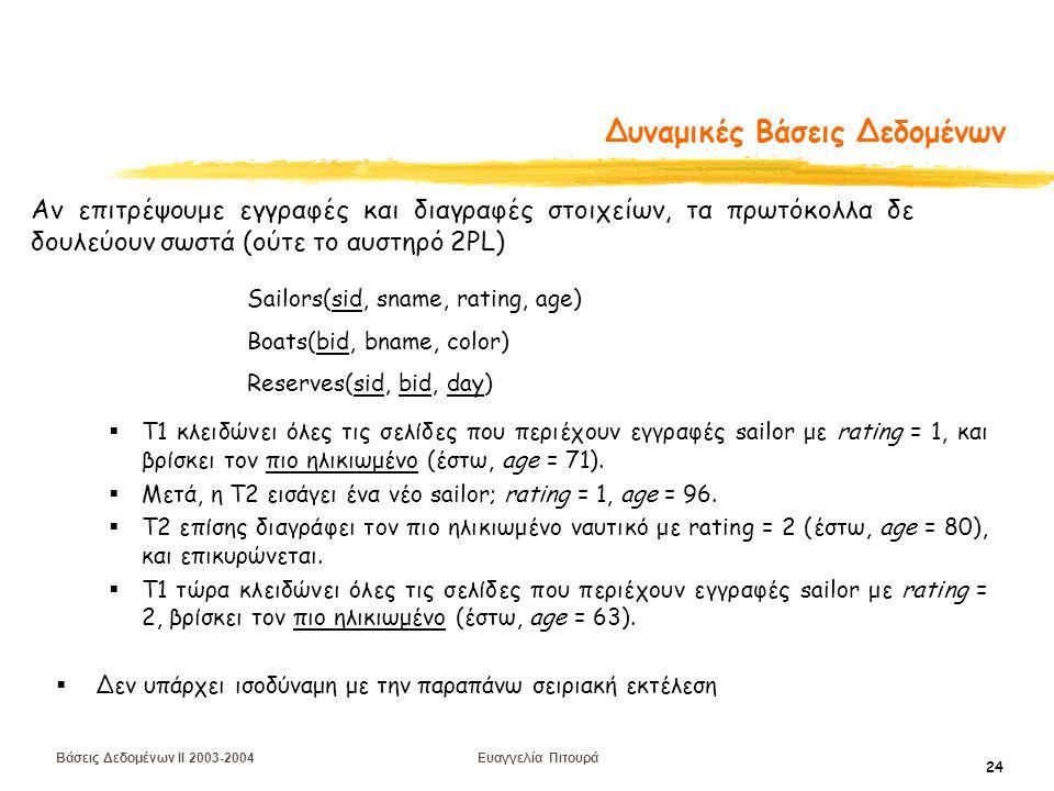 Βάσεις Δεδομένων II 2003-2004 Ευαγγελία Πιτουρά 24 Δυναμικές Βάσεις Δεδομένων  T1 κλειδώνει όλες τις σελίδες που περιέχουν εγγραφές sailor με rating = 1, και βρίσκει τον πιο ηλικιωμένο (έστω, age = 71).
