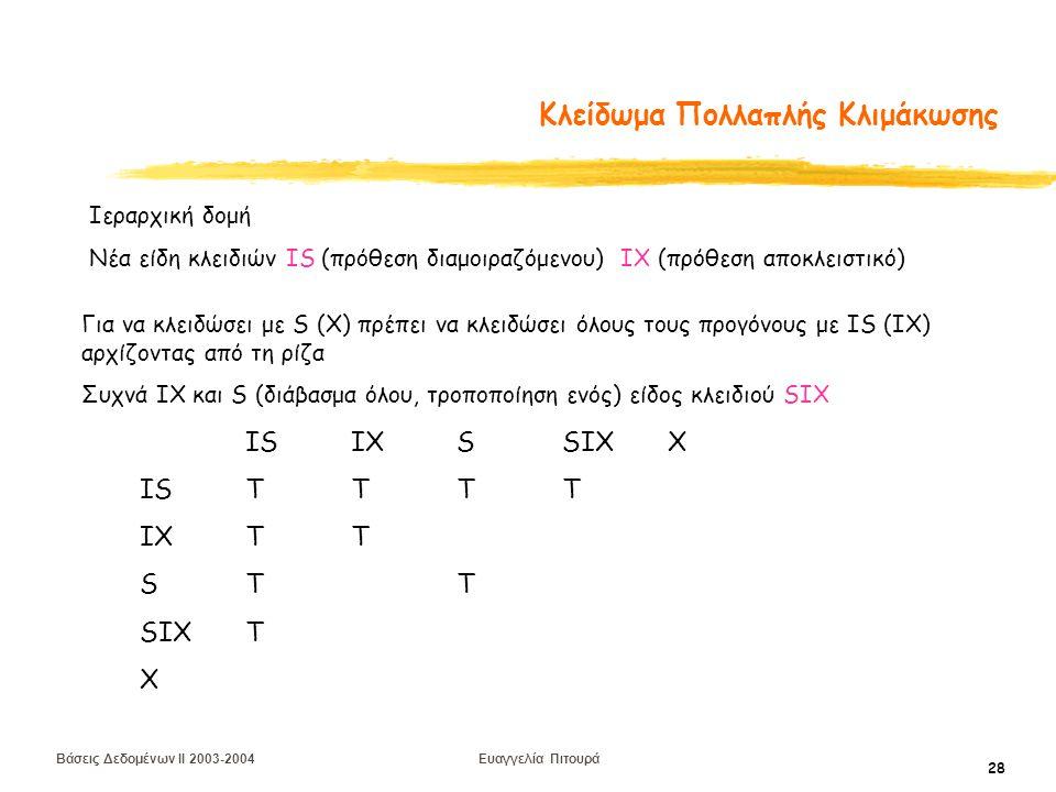 Βάσεις Δεδομένων II 2003-2004 Ευαγγελία Πιτουρά 28 Κλείδωμα Πολλαπλής Κλιμάκωσης Ιεραρχική δομή Νέα είδη κλειδιών IS (πρόθεση διαμοιραζόμενου) IX (πρόθεση αποκλειστικό) ISIXSSIXX ISTTTT IXTT STT SIXT X Για να κλειδώσει με S (X) πρέπει να κλειδώσει όλους τους προγόνους με IS (IX) αρχίζοντας από τη ρίζα Συχνά ΙΧ και S (διάβασμα όλου, τροποποίηση ενός) είδος κλειδιού SIX