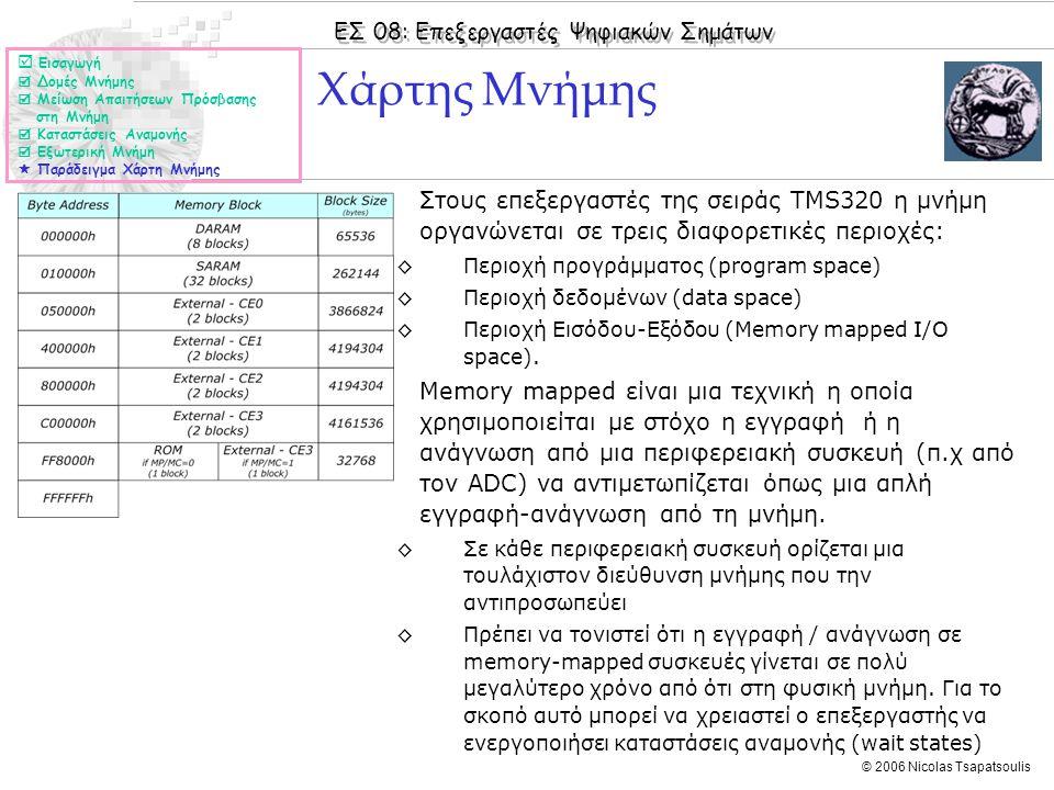 ΕΣ 08: Επεξεργαστές Ψηφιακών Σημάτων © 2006 Nicolas Tsapatsoulis ◊Στους επεξεργαστές της σειράς TMS320 η μνήμη οργανώνεται σε τρεις διαφορετικές περιο