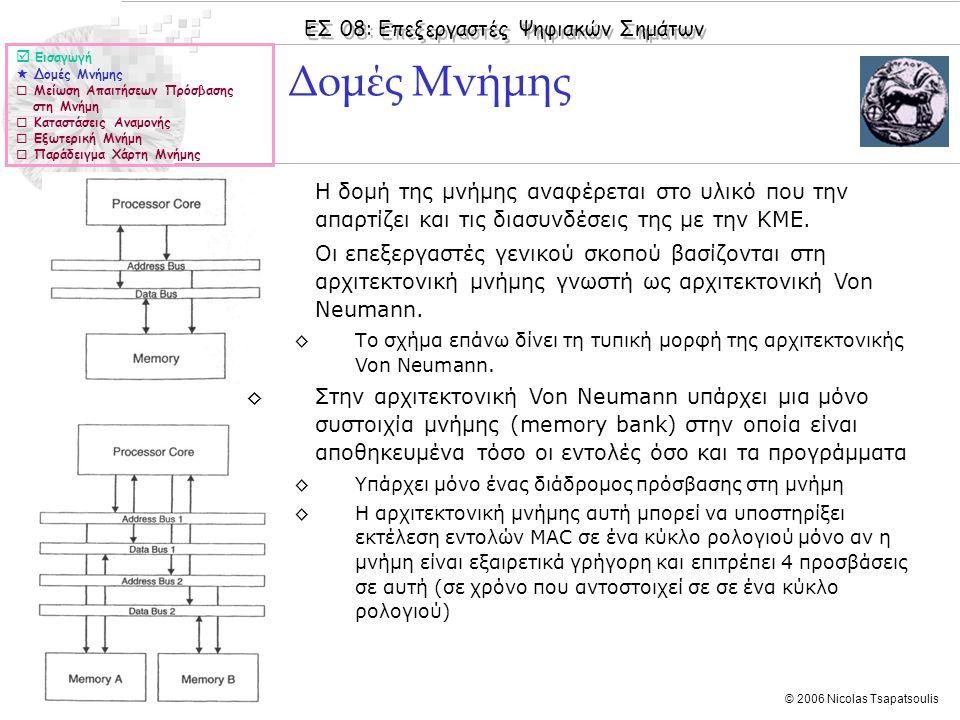 ΕΣ 08: Επεξεργαστές Ψηφιακών Σημάτων © 2006 Nicolas Tsapatsoulis ◊Η δομή της μνήμης αναφέρεται στο υλικό που την απαρτίζει και τις διασυνδέσεις της με