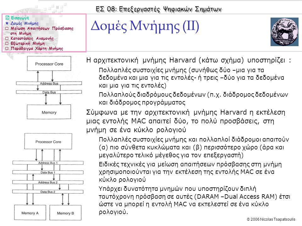 ΕΣ 08: Επεξεργαστές Ψηφιακών Σημάτων © 2006 Nicolas Tsapatsoulis ◊Η αρχιτεκτονική μνήμης Harvard (κάτω σχήμα) υποστηρίζει : ◊Πολλαπλές συστοιχίες μνήμ