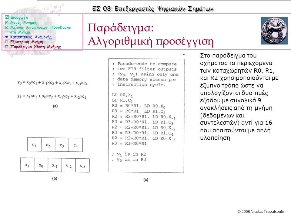ΕΣ 08: Επεξεργαστές Ψηφιακών Σημάτων © 2006 Nicolas Tsapatsoulis ◊Στο παράδειγμα του σχήματος τα περιεχόμενα των καταχωρητών R0, R1, και R2 χρησιμοποι