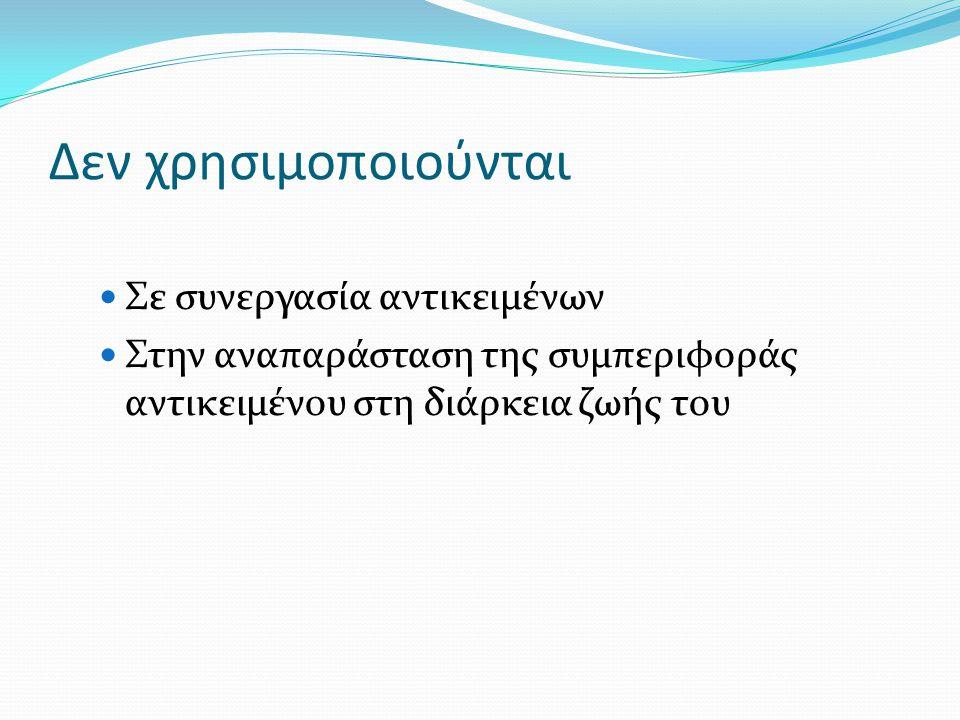 Συμβολισμοί Αρχή ( ● ) – Τέλος ( ◙ ) Δραστηριότητα (ορθογώνιο με καμπύλες γωνίες) Μετάβαση (ακμή) Διακλάδωση Με συνθήκες φρουρούς ([......]) Με κόμβους απόφασης (ρόμβος) με πολλαπλές εξερχόμενες ακμές Ράβδοι συγχρονισμού (synchronization bar) Ενωση (join) Συνένωση πολλών εισερχόμενων μεταβάσεων Διχάλα (fork) Ανάλυση μιας εισερχόμενης μετάβασης σε πολλές παράλληλες εξερχόμενες μεταβάσεις