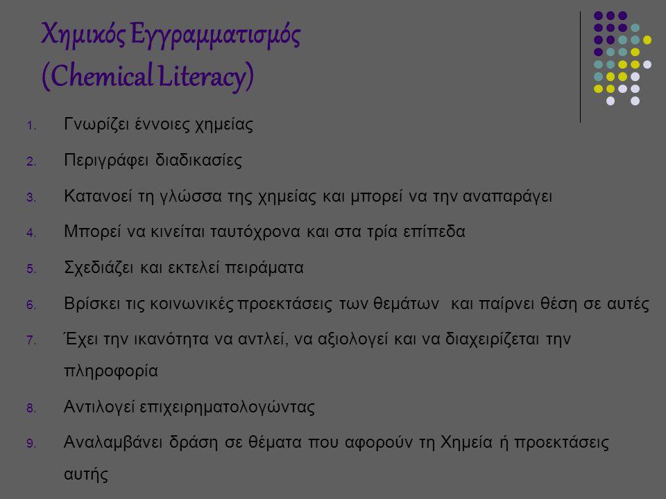 Χημικός Εγγραμματισμός (Chemical Literacy) 1.Γνωρίζει έννοιες χημείας 2.