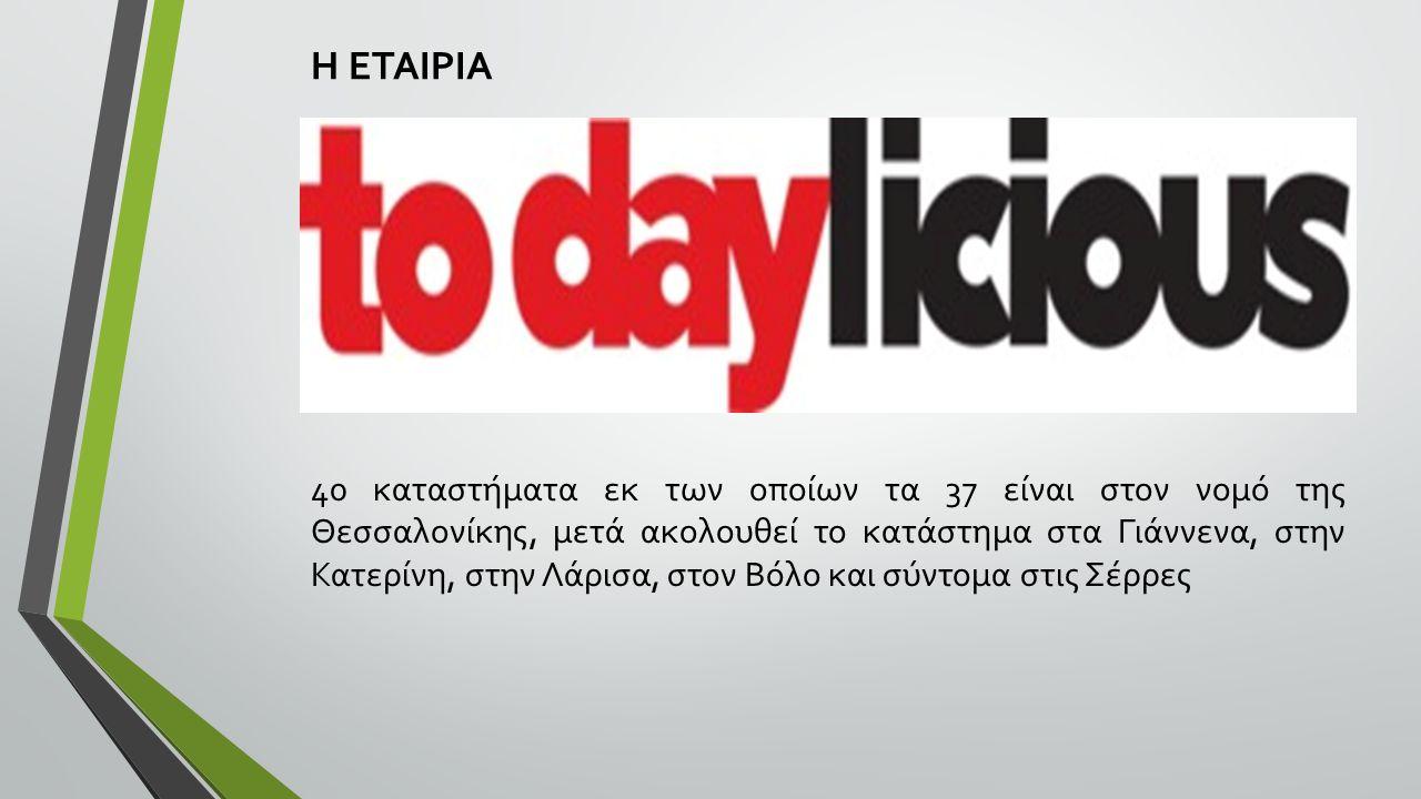 Η ΕΤΑΙΡΙΑ 40 καταστήματα εκ των οποίων τα 37 είναι στον νομό της Θεσσαλονίκης, μετά ακολουθεί το κατάστημα στα Γιάννενα, στην Κατερίνη, στην Λάρισα, στον Βόλο και σύντομα στις Σέρρες