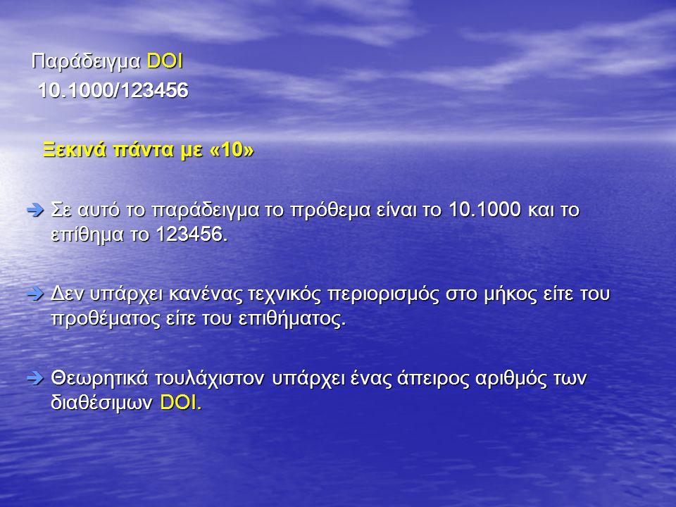 Παράδειγμα DOI Παράδειγμα DOI 10.1000/123456 10.1000/123456 Ξεκινά πάντα με «10» Ξεκινά πάντα με «10»  Σε αυτό το παράδειγμα το πρόθεμα είναι το 10.1000 και το επίθημα το 123456.