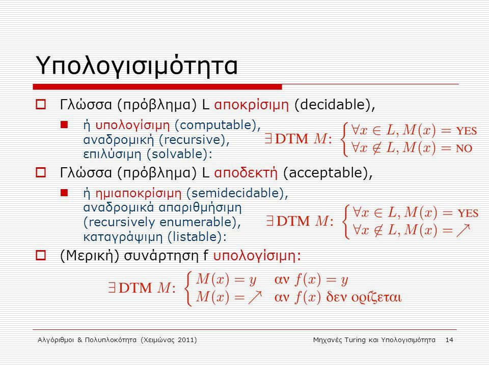 Αλγόριθμοι & Πολυπλοκότητα (Χειμώνας 2011)Μηχανές Turing και Υπολογισιμότητα 14 Υπολογισιμότητα  Γλώσσα (πρόβλημα) L αποκρίσιμη (decidable), ή υπολογίσιμη (computable), αναδρομική (recursive), επιλύσιμη (solvable):  Γλώσσα (πρόβλημα) L αποδεκτή (acceptable), ή ημιαποκρίσιμη (semidecidable), αναδρομικά απαριθμήσιμη (recursively enumerable), καταγράψιμη (listable):  (Μερική) συνάρτηση f υπολογίσιμη: