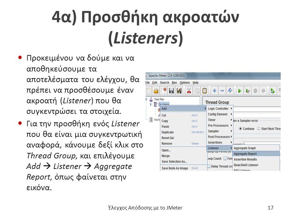 4α) Προσθήκη ακροατών (Listeners) Προκειμένου να δούμε και να αποθηκεύσουμε τα αποτελέσματα του ελέγχου, θα πρέπει να προσθέσουμε έναν ακροατή (Listener) που θα συγκεντρώσει τα στοιχεία.