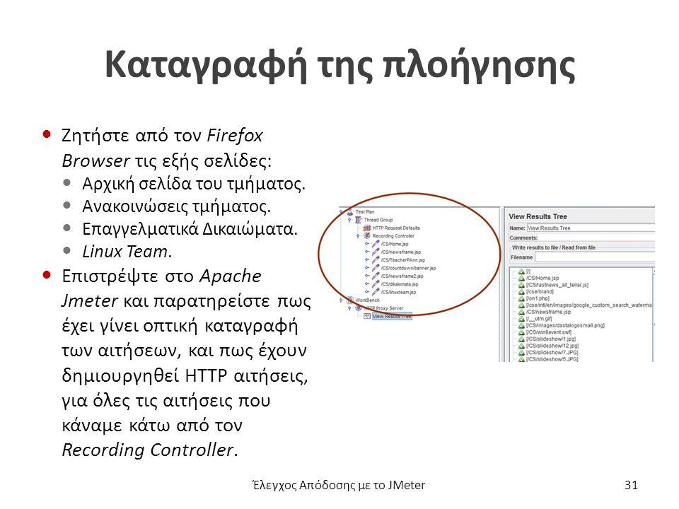 Καταγραφή της πλοήγησης Ζητήστε από τον Firefox Browser τις εξής σελίδες: Αρχική σελίδα του τμήματος.