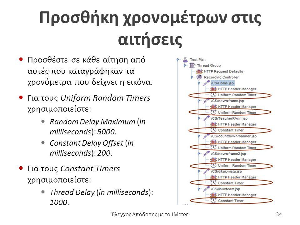 Προσθήκη χρονομέτρων στις αιτήσεις Προσθέστε σε κάθε αίτηση από αυτές που καταγράφηκαν τα χρονόμετρα που δείχνει η εικόνα.