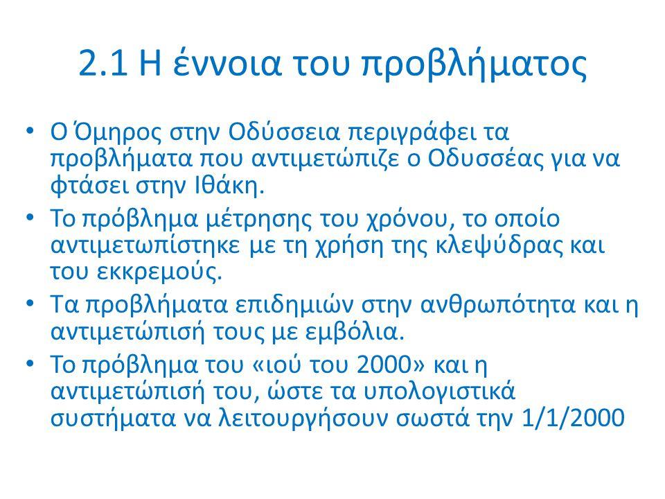 2.1 Η έννοια του προβλήματος Ο Όμηρος στην Οδύσσεια περιγράφει τα προβλήματα που αντιμετώπιζε ο Οδυσσέας για να φτάσει στην Ιθάκη.