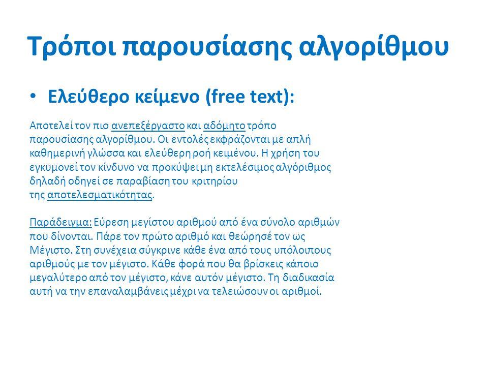 Τρόποι παρουσίασης αλγορίθμου Ελεύθερο κείμενο (free text): Αποτελεί τον πιο ανεπεξέργαστο και αδόμητο τρόπο παρουσίασης αλγορίθμου. Οι εντολές εκφράζ