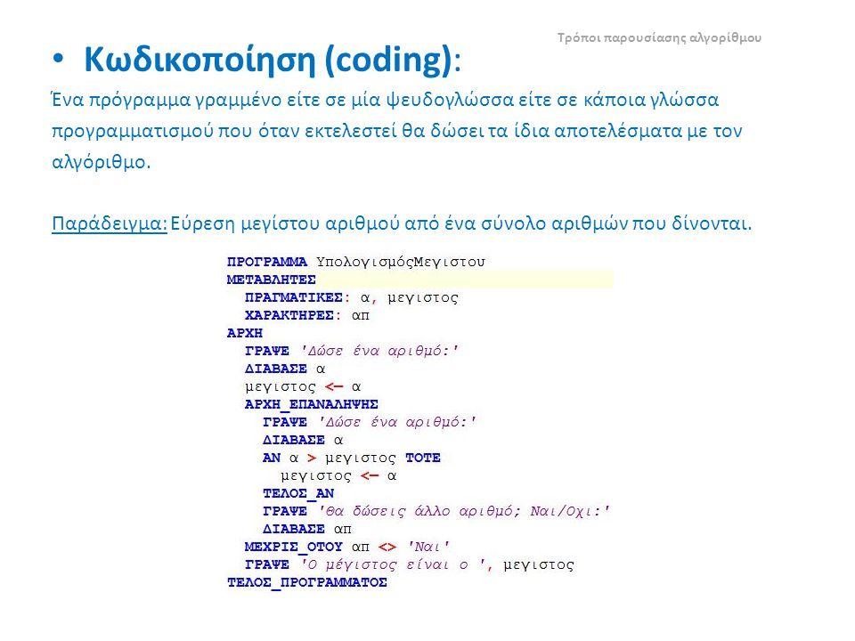 Κωδικοποίηση (coding): Ένα πρόγραμμα γραμμένο είτε σε μία ψευδογλώσσα είτε σε κάποια γλώσσα προγραμματισμού που όταν εκτελεστεί θα δώσει τα ίδια αποτελέσματα με τον αλγόριθμο.