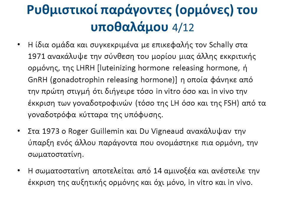 Ρυθμιστικοί παράγοντες (ορμόνες) του υποθαλάμου 4/12 Η ίδια ομάδα και συγκεκριμένα με επικεφαλής τον Schally στα 1971 ανακάλυψε την σύνθεση του μορίου
