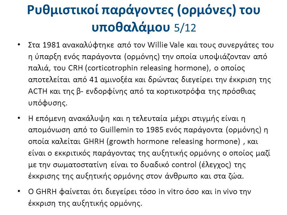 Ρυθμιστικοί παράγοντες (ορμόνες) του υποθαλάμου 5/12 Στα 1981 ανακαλύφτηκε από τον Willie Vale και τους συνεργάτες του η ύπαρξη ενός παράγοντα (ορμόνη