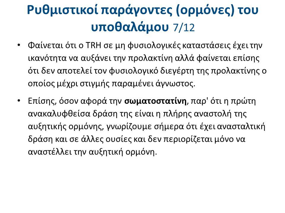 Ρυθμιστικοί παράγοντες (ορμόνες) του υποθαλάμου 7/12 Φαίνεται ότι ο TRH σε μη φυσιολογικές καταστάσεις έχει την ικανότητα να αυξάνει την προλακτίνη αλ