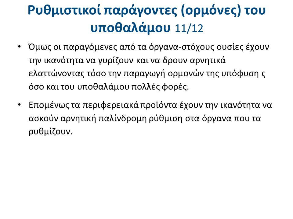 Ρυθμιστικοί παράγοντες (ορμόνες) του υποθαλάμου 11/12 Όμως οι παραγόμενες από τα όργανα-στόχους ουσίες έχουν την ικανότητα να γυρίζουν και να δρουν αρ