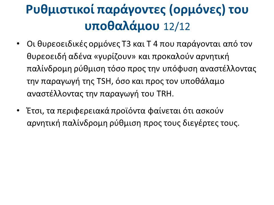 Ρυθμιστικοί παράγοντες (ορμόνες) του υποθαλάμου 12/12 Οι θυρεοειδικές ορμόνες Τ3 και Τ 4 που παράγονται από τον θυρεοειδή αδένα «γυρίζουν» και προκαλο