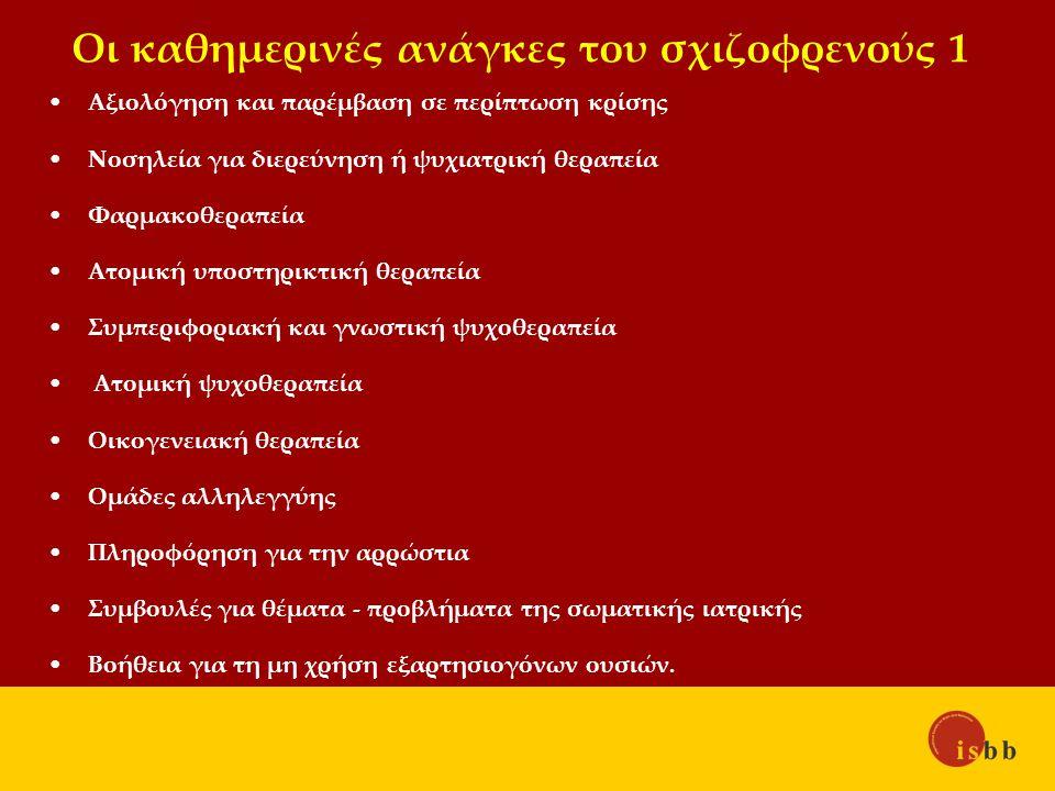 Οι καθημερινές ανάγκες του σχιζοφρενούς 1 Αξιολόγηση και παρέμβαση σε περίπτωση κρίσης Νοσηλεία για διερεύνηση ή ψυχιατρική θεραπεία Φαρμακοθεραπεία Ατομική υποστηρικτική θεραπεία Συμπεριφοριακή και γνωστική ψυχοθεραπεία Ατομική ψυχοθεραπεία Οικογενειακή θεραπεία Ομάδες αλληλεγγύης Πληροφόρηση για την αρρώστια Συμβουλές για θέματα - προβλήματα της σωματικής ιατρικής Βοήθεια για τη μη χρήση εξαρτησιογόνων ουσιών.