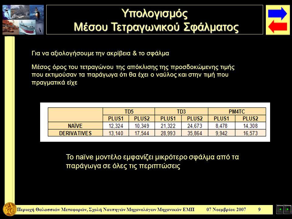 Υπολογισμός Μέσου Τετραγωνικού Σφάλματος Μέσου Τετραγωνικού Σφάλματος Περιοχή Θαλασσιών Μεταφορών, Σχολή Ναυπηγών Μηχανολόγων Μηχανικών ΕΜΠ 07 Νοεμβρί