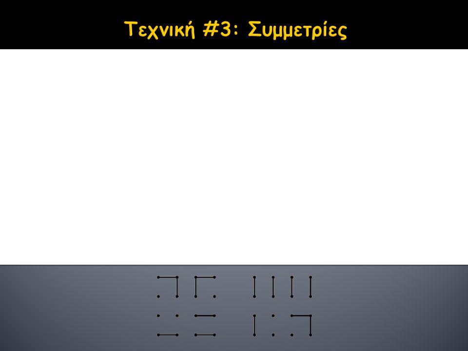 Χρησιμότητα Ελάττωση του χώρου καταστάσεων 1. Κατοπτρικές Συμμετρίες Οριζόντια, κατακόρυφη και διαγώνια (για τετραγωνικά ταμπλώ) 2. Μη-προφανείς Συμμε