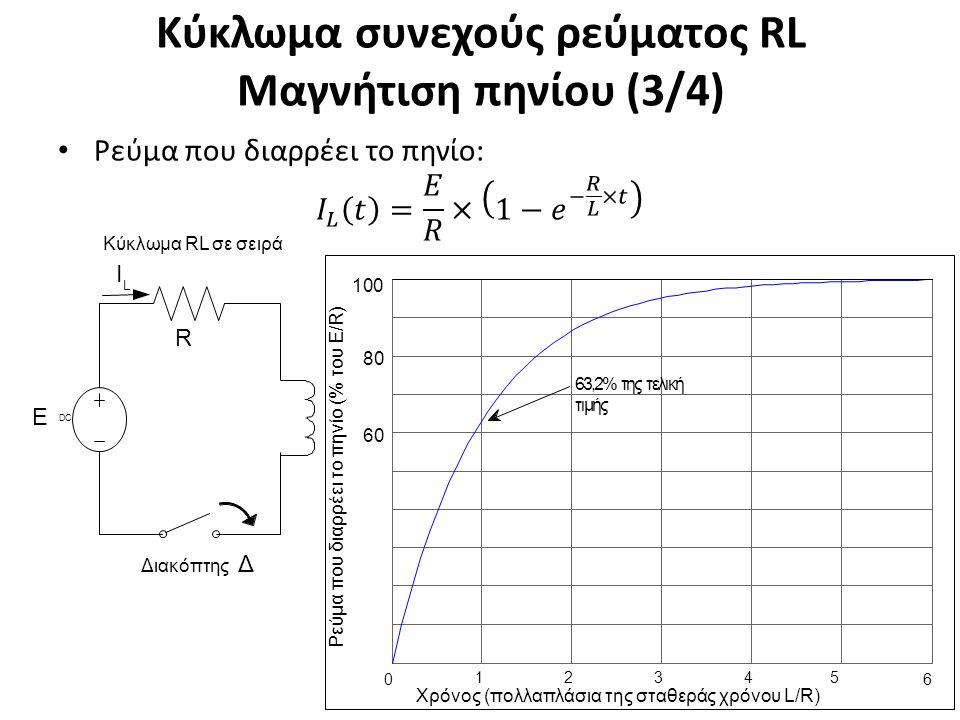 Κύκλωμα συνεχούς ρεύματος RL Μαγνήτιση πηνίου (3/4) 18 L Ι L Ε R Διακόπτης Δ DCDC Κύκλωμα RL σε σειρά 63,2% της τελική τιμής 0 1 2 3 4 5 Χρόνος (πολλαπλάσια της σταθεράς χρόνου L/R) 6 60 80 100 Ρ ε ύμα π ου δ ι α ρ ρ έε ι τ ο πη ν ί ο (% τ ου Ε / R )