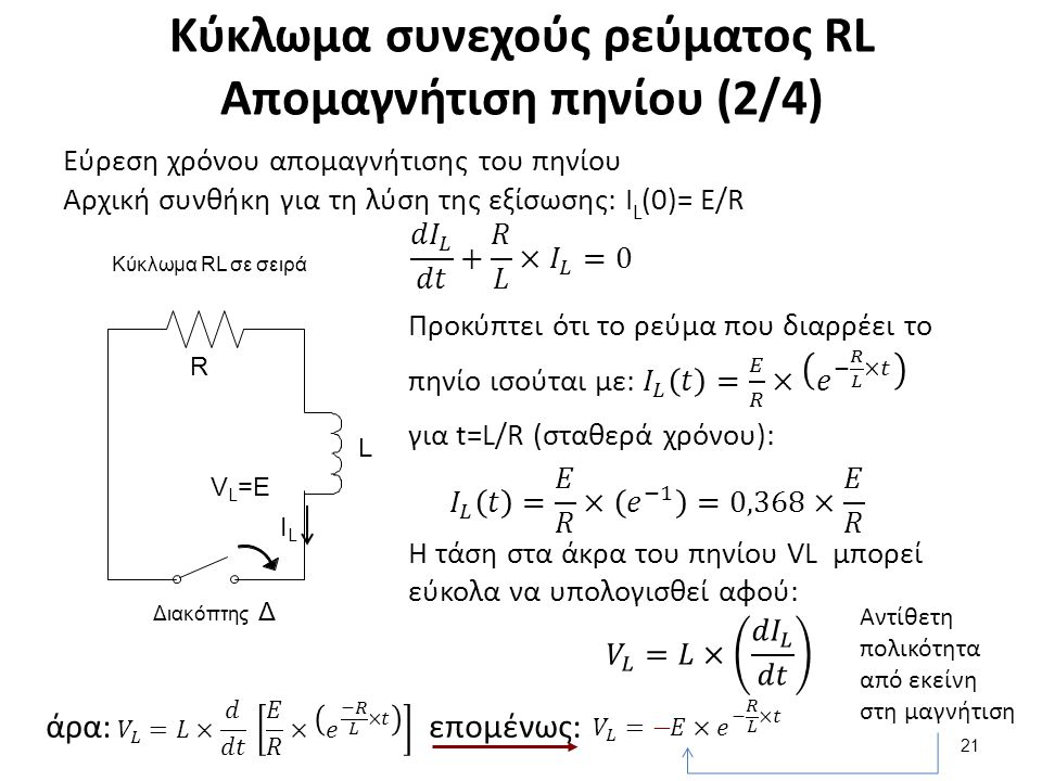 Κύκλωμα συνεχούς ρεύματος RL Απομαγνήτιση πηνίου (2/4) 21 άρα:επομένως: Αντίθετη πολικότητα από εκείνη στη μαγνήτιση Κύκλωμα RL σε σειρά L R Διακόπτης Δ ILIL V L =E