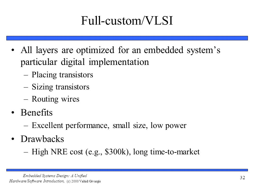 Embedded Systems Design: A Unified Hardware/Software Introduction, (c) 2000 Vahid/Givargis 32 Full-custom/VLSI All layers are optimized for an embedded system's particular digital implementation –Placing transistors –Sizing transistors –Routing wires Benefits –Excellent performance, small size, low power Drawbacks –High NRE cost (e.g., $300k), long time-to-market