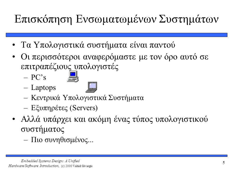 Embedded Systems Design: A Unified Hardware/Software Introduction, (c) 2000 Vahid/Givargis 5 Επισκόπηση Ενσωματωμένων Συστημάτων Τα Υπολογιστικά συστήματα είναι παντού Οι περισσότεροι αναφερόμαστε με τον όρο αυτό σε επιτραπέζιους υπολογιστές –PC's –Laptops –Κεντρικά Υπολογιστικά Συστήματα –Εξυπηρέτες (Servers) Αλλά υπάρχει και ακόμη ένας τύπος υπολογιστικού συστήματος –Πιο συνηθισμένος...