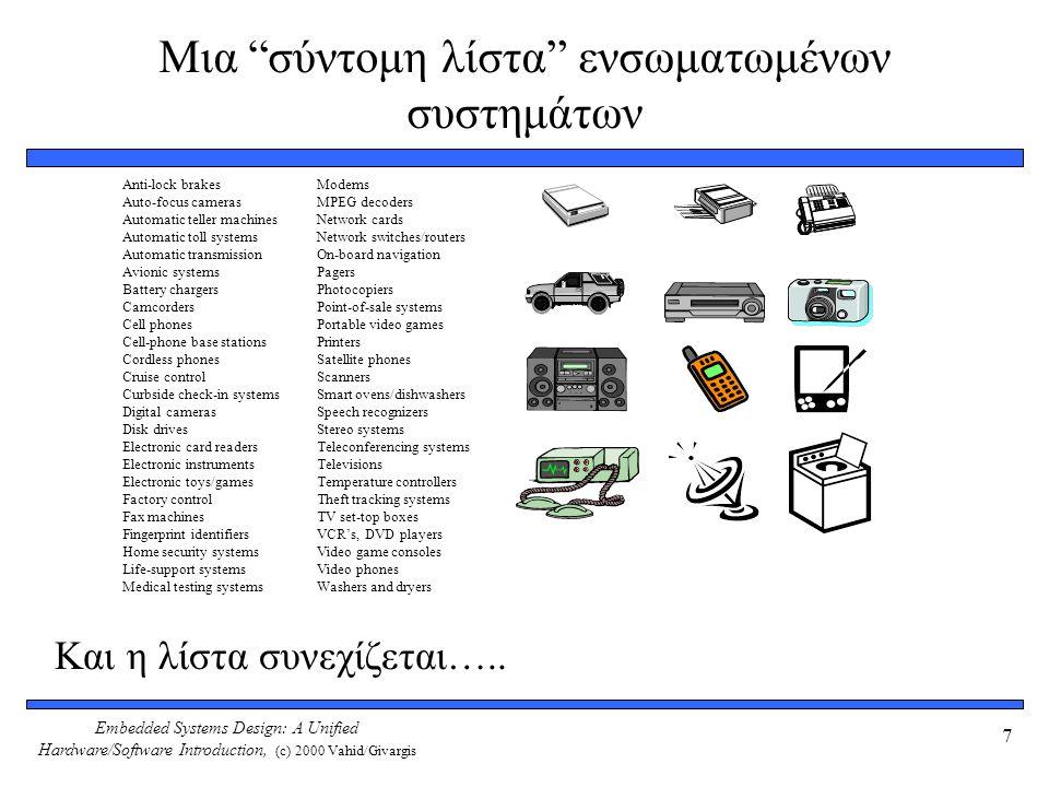 Embedded Systems Design: A Unified Hardware/Software Introduction, (c) 2000 Vahid/Givargis 7 Μια σύντομη λίστα ενσωματωμένων συστημάτων Και η λίστα συνεχίζεται…..