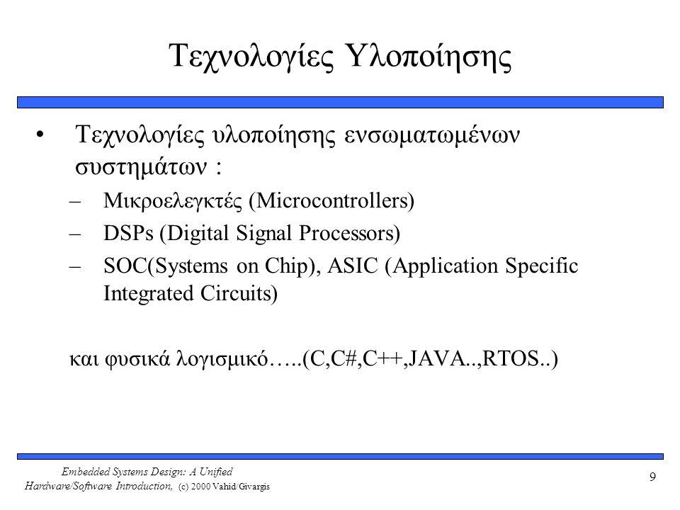 Embedded Systems Design: A Unified Hardware/Software Introduction, (c) 2000 Vahid/Givargis 9 Τεχνολογίες Υλοποίησης Τεχνολογίες υλοποίησης ενσωματωμένων συστημάτων : –Μικροελεγκτές (Microcontrollers) –DSPs (Digital Signal Processors) –SOC(Systems on Chip), ASIC (Application Specific Integrated Circuits) και φυσικά λογισμικό…..(C,C#,C++,JAVA..,RTOS..)