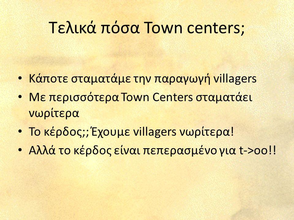 Τελικά πόσα Town centers; Κάποτε σταματάμε την παραγωγή villagers Με περισσότερα Town Centers σταματάει νωρίτερα Το κέρδος;; Έχουμε villagers νωρίτερα