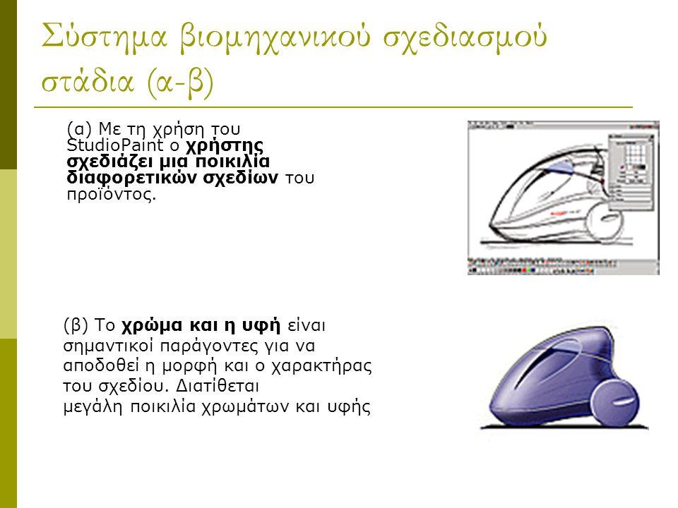 Σύστημα βιομηχανικού σχεδιασμού στάδια (α-β) (α) Με τη χρήση του StudioPaint ο χρήστης σχεδιάζει μια ποικιλία διαφορετικών σχεδίων του προϊόντος.