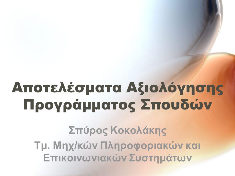 Αποτελέσματα Αξιολόγησης Προγράμματος Σπουδών Σπύρος Κοκολάκης Τμ.