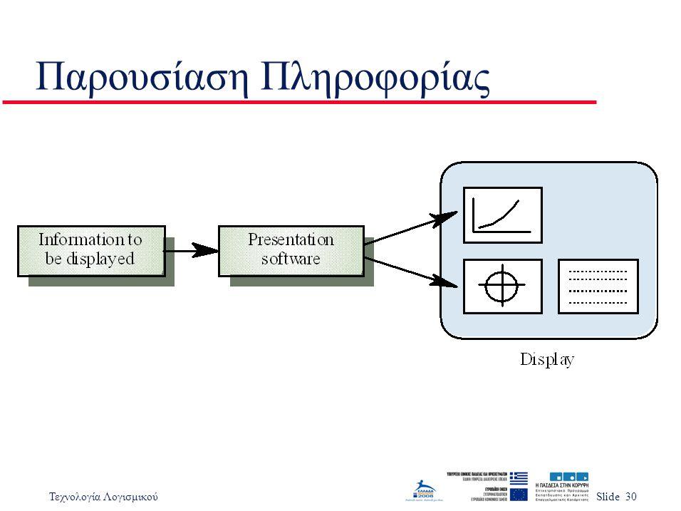 Τεχνολογία ΛογισμικούSlide 30 Παρουσίαση Πληροφορίας